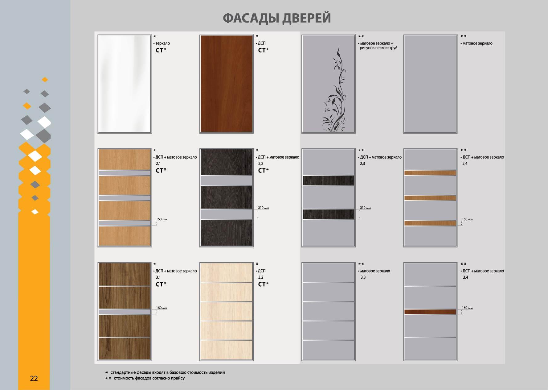 Варианты дизайна фасадов дверей шкафа купе with фасады для 8.